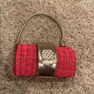 lilly pulitzer pink wicker clutch / handbag purse
